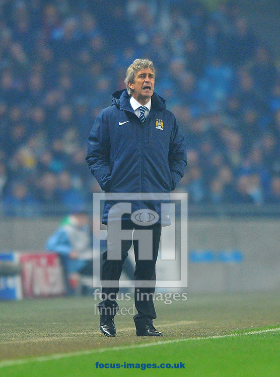 Manchester City manager Manuel Pellegrini during the UEFA Champions League match at the Etihad Stadium, Manchester<br /> Picture by Greg Kwasnik/Focus Images Ltd +44 7902 021456<br /> 05/11/2014