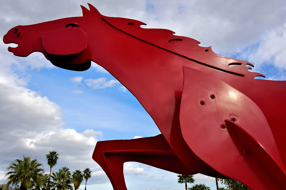Charger Red Horse Sculpture in Palm Desert, California <br />