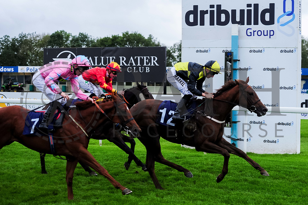 Shani ridden by K T O'Neill and trained by J J Bridger, Gleeds Girl ridden by Tom Marquand and trained by M R Channon and Live in the Moment ridden by R Havlin and trained by Adam West - Ryan Hiscott/JMP - 30/09/2019 - PR - Bath Racecourse - Bath, England - Race Meeting at Bath Racecourse