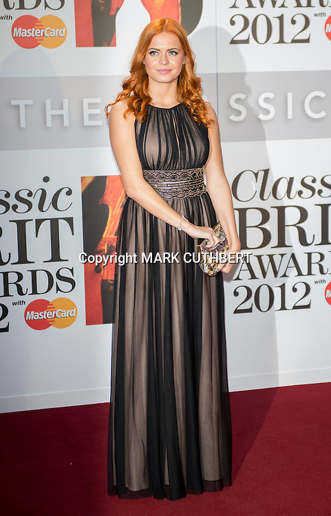 Sophie Evans arriving at the 2012 Classic Brit Awards at the Royal Albert Hall in London.