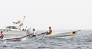 St Peter's Port, Guernsey, CHANNEL ISLANDS,  The Guernsy RC pair Plough though he rough water on the first leg of Sun's 2006 FISA World Coastal Rowing  Rowing Challenge,  03/09/2006.  Photo  Peter Spurrier, © Intersport Images,