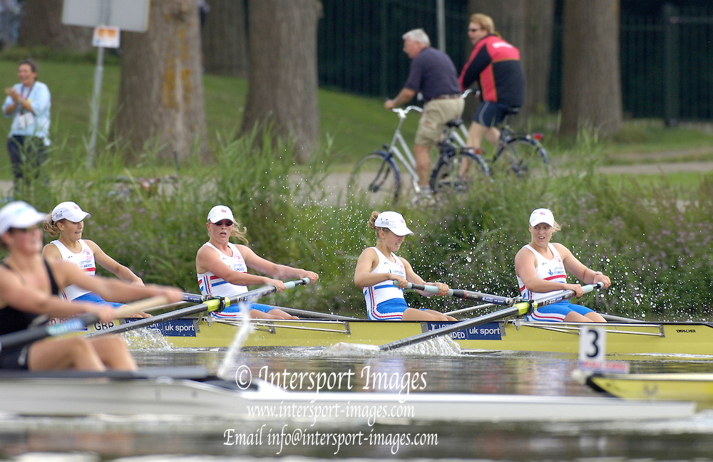 2006, FISA Juniors, Bosbaan, Amsterdam, THE NETHERLANDS, Saturday, [Finals Day].  05.08.2006.  GBR JW4-,  Lottie HOWARD-MERRILL. Maria LARSEN,  Emma, YOUNG, Zoe JOHNSON,  Peter Spurrier/Intersport Images, email images@intersport-images.com[Mandatory Credit Peter Spurrier/ Intersport Images] Rowing Course: Bosbaan Rowing Course, Amsterdam, NETHERLANDS