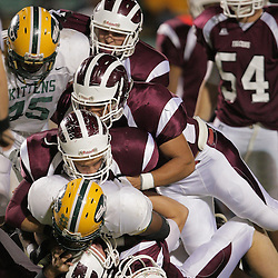 31 October, 2008:  St. Thomas Aquinas LB/WB Charles Robert Miller  (#16)St. Thomas Aquinas DT/OT Brandon Black  (#74), St. Thomas Aquinas LB/WB John Duhe (#17), St. Thomas Aquinas QB/DB Ethan Bleakley (#7), St. Thomas Aquinas WR/CB Ryan Gambel  (#3) St. Thomas Aquinas FS/RB Travis Gregory (#32), The St. Thomas Falcons recorded their first shut out of the season with a 41-0 shutout of the Southern Lab Kittens at Strawberry Stadium in Hammond, LA.
