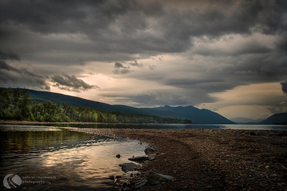 Glacier National Park; landscape; nature; lake; sunset; abstract nature; McDonald Lake