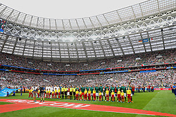 MOSCOW, RUSSIA - Sunday, June 17, 2018: Mexico players line-up for the national anthem before the FIFA World Cup Russia 2018 Group F match between Germany and Mexico at the Luzhniki Stadium. (Pic by David Rawcliffe/Propaganda)