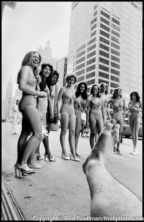 Footograph: Photograph of my right foot on Michigan Avenue with Miss Chicago Beauty Pageant contestants.