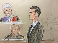Sunderland and England footballer Adam Johnson in front of Judge Jonathan Rose. Johnson has pleaded guilty to kissing a 15-year-old schoolgirl after grooming her over the internet. <br /> <br /> The 28-year-old midfielder today admitted one count of sexual activity with a child and one of grooming at Bradford crown court