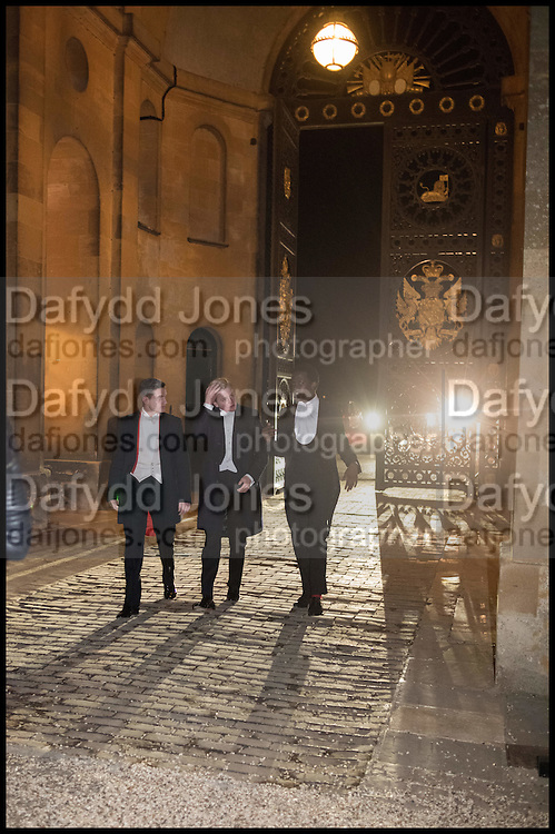 VERE HARMSWORTH; GEORGE PEARSON; ALLAMIN DAGGASH, Oxford University Polo club Ball, Blenheim Palace. Woodstock. 6 March 2015