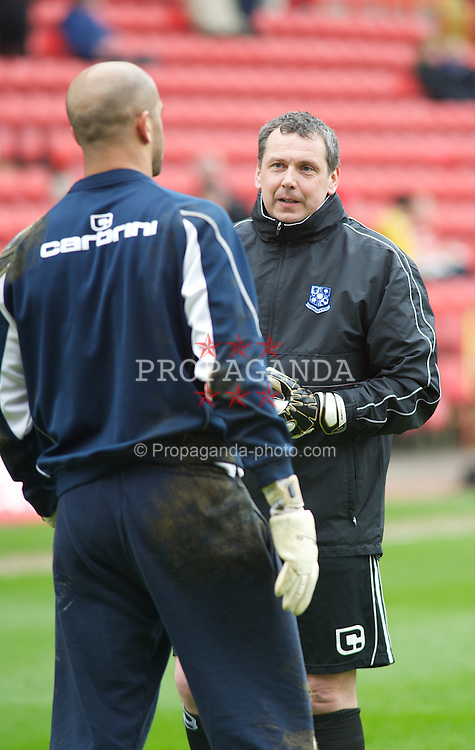 LONDON, ENGLAND - Saturday, March 5, 2011: Tranmere Rovers' Goalkeeping Coach Dave Timmins and Tony Warner before the Football League One match at The Valley. (Photo by Gareth Davies/Propaganda)