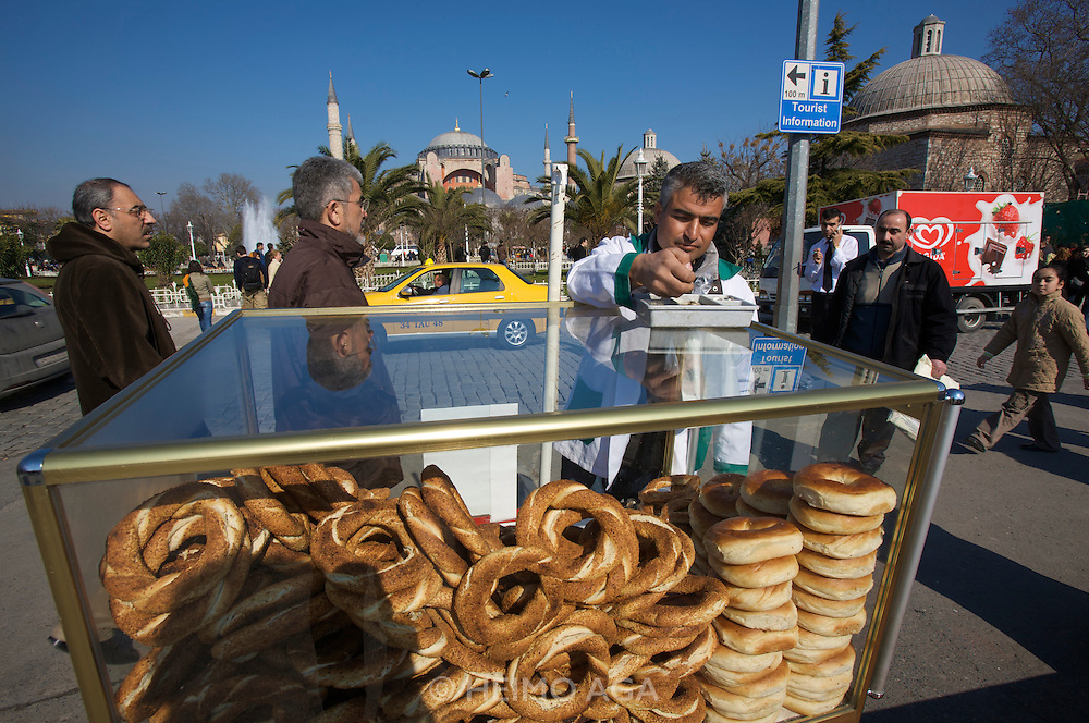 Istanbul. Hagia Sophia (a former church turned into a mosque, and now a museum). Sesame roll seller.