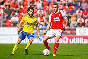 Jota of Birmingham City (23) and Will Vaulks of Rotherham United (4) in action during the EFL Sky Bet Championship match between Rotherham United and Birmingham City at the AESSEAL New York Stadium, Rotherham, England on 22 April 2019.