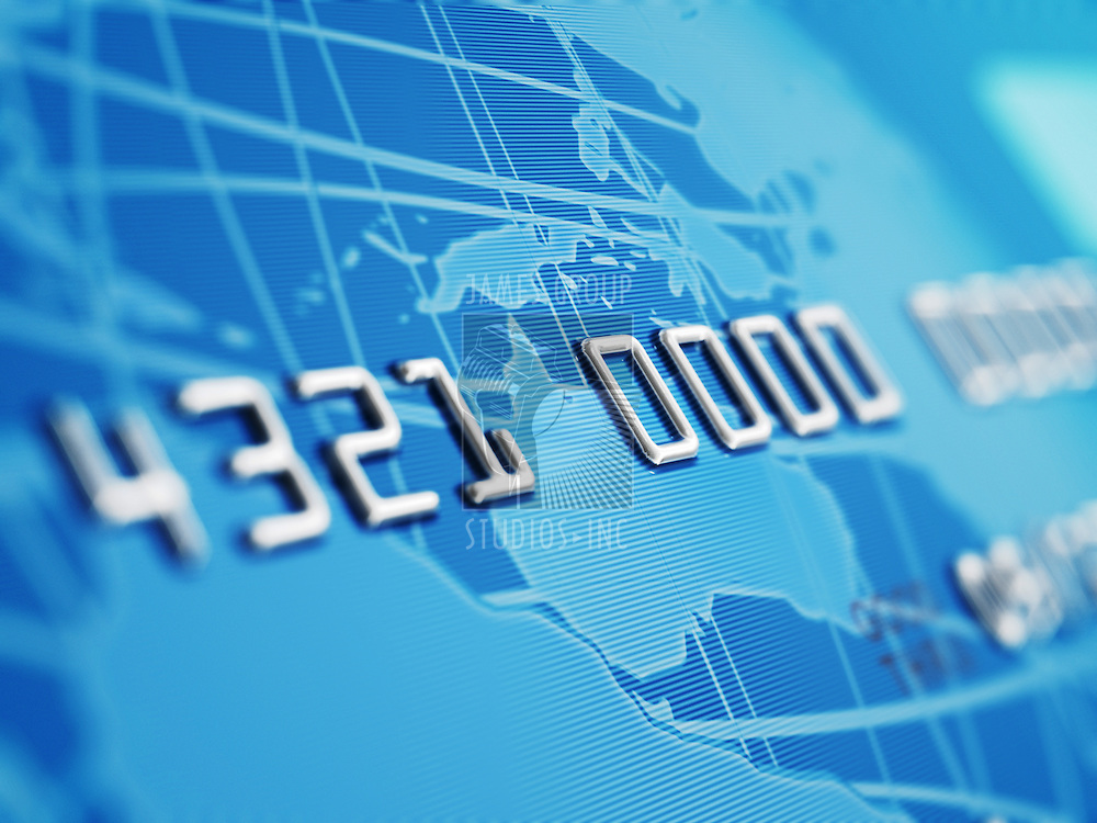 A close up of a bogus credit card Depth of field showing the numbers. Globe and credit card designed and renderd in studio.