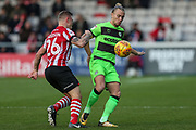 Forest Green Rovers Joseph Mills(23) during the EFL Sky Bet League 2 match between Lincoln City and Forest Green Rovers at Sincil Bank, Lincoln, United Kingdom on 3 November 2018.