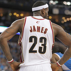 01 November 2008:  Cleveland Cavaliers forward LeBron James (23) awaits a free throw attempt during a 104-92 win by the New Orleans Hornets over the Cleveland Cavaliers at the New Orleans Arena in New Orleans, LA..