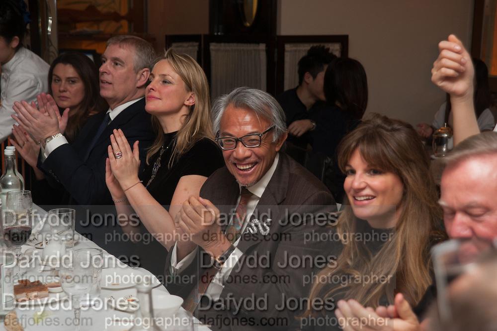 PRINCE ANDREW; MRS. HOWARD BARCLAY; SIR DAVID TANG; JEMIMA KHAN, Chinese New Year dinner given by Sir David Tang. China Tang. Park Lane. London. 4 February 2013.