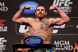 Las Vegas, NV - December 28, 2012: Jim Miller weighs in for his bout against Joe Lauzon at UFC 155 at MGM Grand Garden Arena in Las Vegas, Nevada.