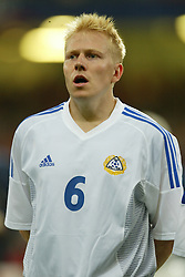 CARDIFF, WALES - Wednesday, September 10, 2003: Finland's Aki Riihilahti during the Euro 2004 qualifying match at the Millennium Stadium.. (Photo by David Rawcliffe/Propaganda)