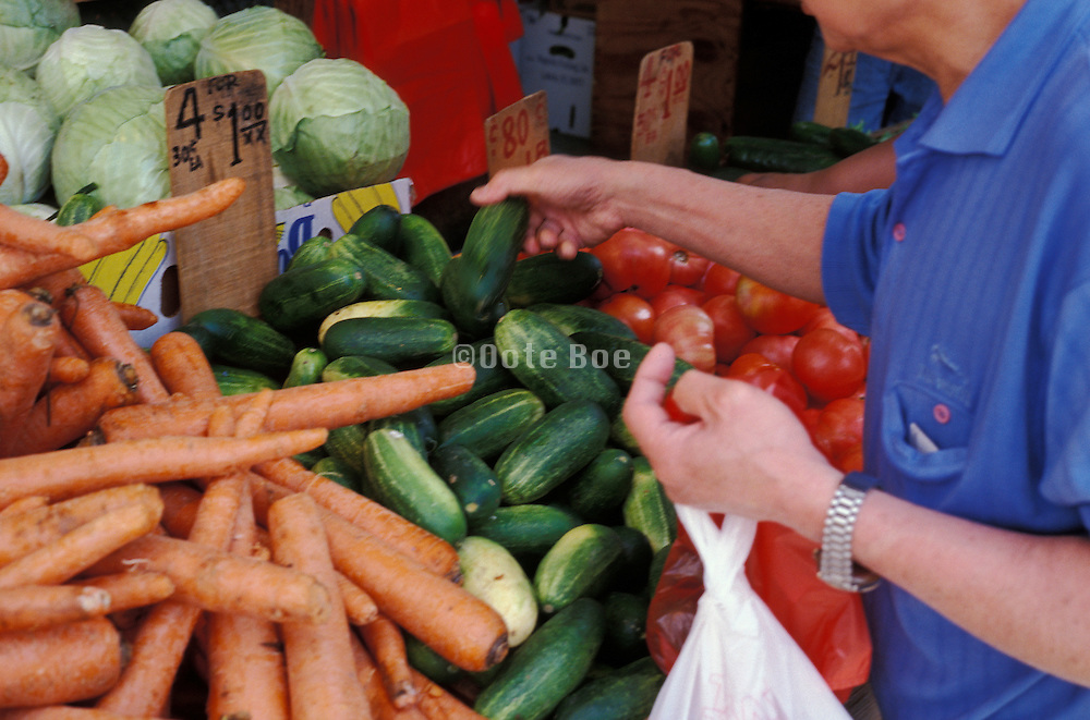 a elderly man selecting vegetables at a greenmarket