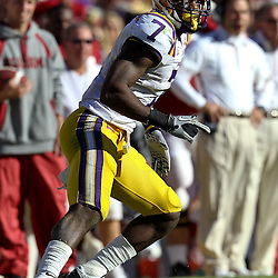 November 6, 2010; Baton Rouge, LA, USA; LSU Tigers cornerback Patrick Peterson (7) in coverage during the first half against the Alabama Crimson Tide at Tiger Stadium.  Mandatory Credit: Derick E. Hingle
