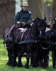 Prince Philip drives his carriage at the Windsor Horse Show today. Windsor Horse Show, Windsor, United Kingdom. Thursday, 15th May 2014. Picture by i-Images