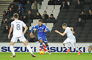 Aaron Amadi-Holloway of Oldham Athletic (10) races away from Stuart O'Keefe of MK Dons (11) during the EFL Sky Bet League 1 match between Milton Keynes Dons and Oldham Athletic at stadium:mk, Milton Keynes, England on 7 February 2017. Photo by Andy Handley.