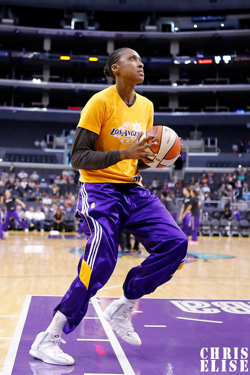 24 August 2014: Los Angeles Sparks forward/center Sandrine Gruda (7) warms up prior to the Phoenix Mercury 93-68 victory over the Los Angeles Sparks, in a Conference Semi-Finals at the Staples Center, Los Angeles, California, USA.