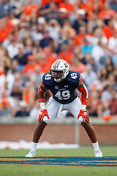 Auburn Tigers linebacker Darrell Williams (49) during an NCAA football game against the Mississippi Rebels, Saturday, October 7, 2017, in Auburn, AL. Auburn won 44-23. (Paul Abell via Abell Images for Chick-fil-A Peach Bowl)
