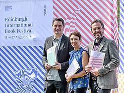 Pictured: (left to right) Nick Barley Festival Director, Janet Smyth Education Program Director, Roland Gulliver Associate Director.<br /> <br /> The programme for the 2018 Edinburgh International Book Festival was launched in Edinburgh today (Thursday).<br /> <br /> &copy; Dave Johnston / EEm