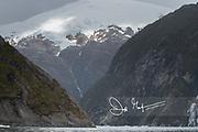 Garibaldi fjord in Parque Nacional Alberto de Agostini, Chile.