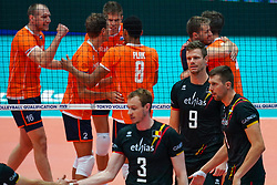 10-08-2019 NED: FIVB Tokyo Volleyball Qualification 2019 / Belgium - Netherlands, Rotterdam<br /> Third match pool B in hall Ahoy between Belgium vs. Netherlands (0-3) for one Olympic ticket / Pieter Verhees #9 of Belgium
