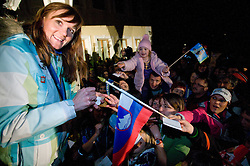 Slovenian bronze medalist cross-country skier Petra Majdic with fans at reception at her home town Dol pri Ljubljani after she came from Vancouver after Winter Olympic games 2010, on March 1, 2010 in Dol pri Ljubljani, Slovenia. (Photo by Vid Ponikvar / Sportida)