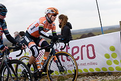Amalie Dideriksen on the VAMberg at Drentse 8 van Westerveld 2018 - a 142 km road race on March 9, 2018, in Dwingeloo, Netherlands. (Photo by Sean Robinson/Velofocus.com)