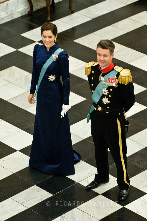 03.01.12. Copenhagen, Denmark.Crowprincess Mary and Crownprince Frederik receiving the chiefs of the diplomatic corps in the Rider's Hall during the New Year's Court in Christiansborg Palace.Photo:© Ricardo Ramirez