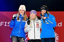 16.02.2017, St. Moritz, SUI, FIS Weltmeisterschaften Ski Alpin, St. Moritz 2017, Riesenslalom, Damen, Siegerehrung, im Bild v.l. Mikaela Shiffrin (USA, Damen Riesenslalom Silbermedaille), Tessa Worley (FRA, Damen Riesenslalom Weltmeisterin und Goldmedaille), Sofia Goggia (ITA, Damen Riesenslalom Bronzemedaille) // f.l. ladie's Giant Slalom Silver medalist Mikaela Shiffrin of the USA ladie's Giant Slalom world Champion and Gold medalist Tessa Worley of France ladie's Giant Slalom Bronze medalist Sofia Goggia of Italy during the winner Ceremony for the ladie's Giant Slalom of the FIS Ski World Championships 2017. St. Moritz, Switzerland on 2017/02/16. EXPA Pictures © 2017, PhotoCredit: EXPA/ Jonas Ericson