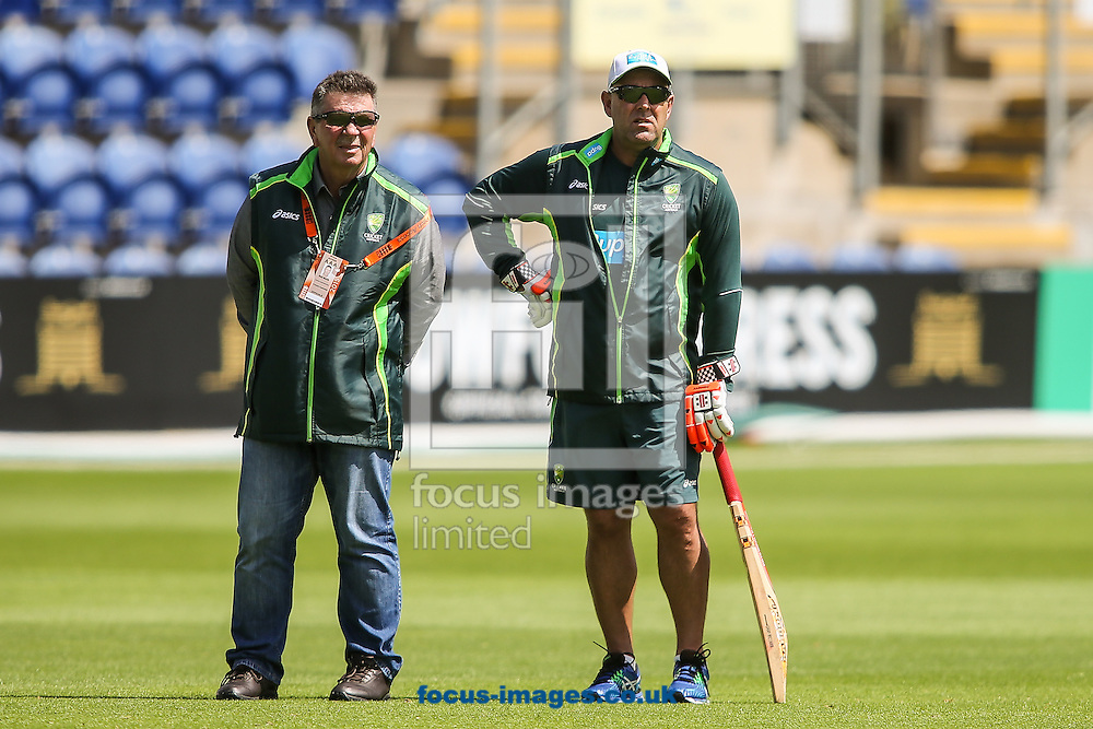 Australian chairman of selectors Rod Marsh (left) with Australia manager Darren Lehmann (right) during the Australia Cricket Practice before the first Test Match of the Investec Ashes Series at Sophia Gardens, Cardiff<br /> Picture by Andy Kearns/Focus Images Ltd 0781 864 4264<br /> 07/07/2015