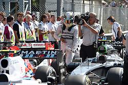 06.09.2014, Autodromo di Monza, Monza, ITA, FIA, Formel 1, Grand Prix von Italien, Qualifying, im Bild 06.09.2014, Autodromo di Monza, Monza, ITA, FIA, Formel 1, Grand Prix von Italien, Qualifying, im Bild Pole sitter Lewis Hamilton (GBR) Mercedes AMG F1 in parc ferme // during the Qualifying of Italian Formula One Grand Prix at the Autodromo di Monza in Monza, Italy on 2014/09/06. EXPA Pictures © 2014, PhotoCredit: EXPA/ Sutton Images<br /> <br /> *****ATTENTION - for AUT, SLO, CRO, SRB, BIH, MAZ only*****