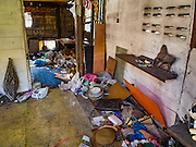 09 SEPTEMBER 2016 - BANGKOK, THAILAND:  Inside a partially demolished home in the Pom Mahakan Fort, one of 15 homes torn down by Bangkok officials over the weekend. Forty-four families still live in the Pom Mahakan Fort community. The city of Bangkok has given them provisional permission to stay, but city officials say the permission could be rescinded and the city go ahead with the evictions. The residents of the historic fort have barricaded most of the gates into the fort and are joined every day by community activists from around Bangkok who support their efforts to stay.           PHOTO BY JACK KURTZ