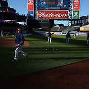 New York Mets players warm up before batting practice with Ruben Tejada in the foreground before the New York Mets Vs New York Yankees MLB regular season baseball game at Citi Field, Queens, New York. USA. 20th September 2015. Photo Tim Clayton
