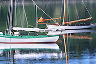 Scenic view of  Lunenberg, Nova Scotia Harbor with vintage sailboats