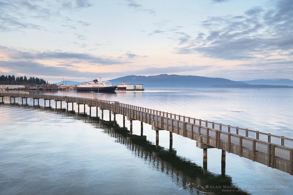 Alaska Ferry approaching dock in Bellingham Bay, from Boulevard Park Boardwalk, Bellingham Washington