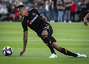 LAFC midfielder Mark-Anthony Kaye (14) in action during a MLS soccer match against the FC Dallas in Los Angeles, Thursday, May 16, 2019. LAFC defeated FC Dallas 2-0.  (Ed Ruvalcaba/Image of Sport)