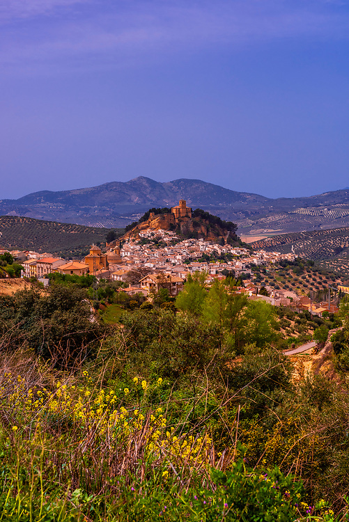 High angle view of the hill top village of Montefrio, Granada Province, Andalusia, Spain. Montefrio was called one of the top ten towns with the best views in the world by National Geographic.