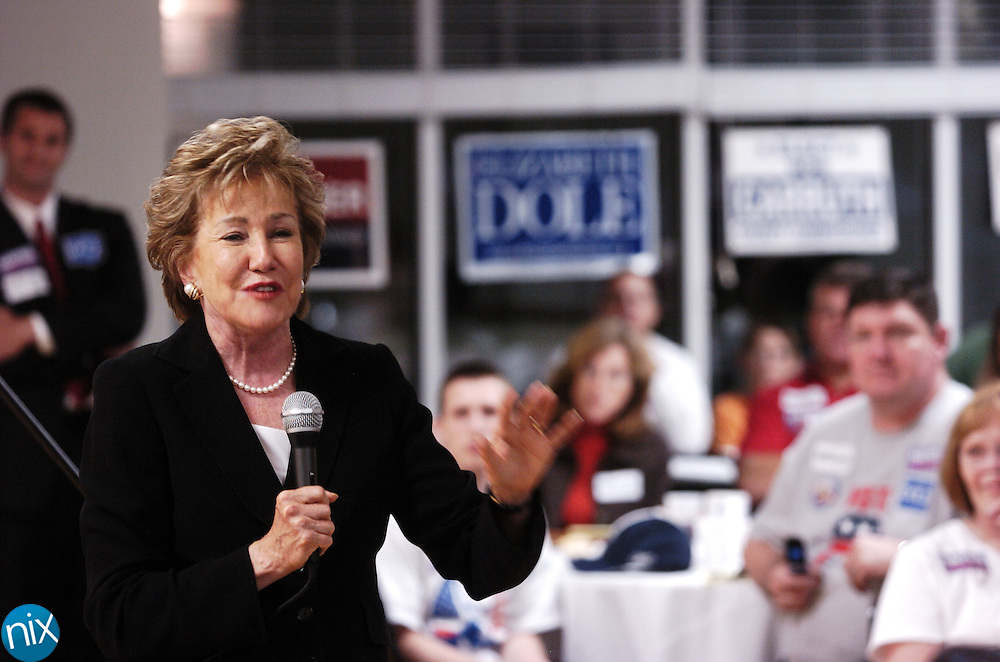 Sen. Elizabeth Dole speaks to a group of supporters at a Republican rally in Harrisburg Oct. 14, 2008. Dole would lose her re-election bid to Kay Hagen.