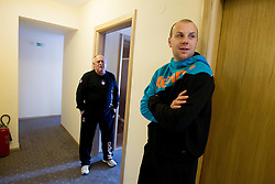 Radivoj Stanic and Gorazd Skof during visit in the rooms of Slovenia Men Handball team during 5th day of 10th EHF European Handball Championship Serbia 2012, on January 19, 2012 in Hotel Srbija, Vrsac, Serbia.  (Photo By Vid Ponikvar / Sportida.com)