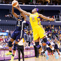 03 August 2014: Los Angeles Sparks forward Nneka Ogwumike (30) steals the ball from Connecticut Sun forward Chiney Ogwumike (13) during the Los Angeles Sparks 70-69 victory over the Connecticut Sun, at the Staples Center, Los Angeles, California, USA.