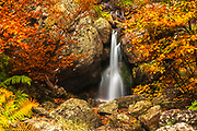 Small waterfall between rocks and red trees