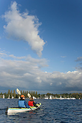 North America, United States, Washington, Seattle, couple kayaking in Montlake Cut near University of Washington MR