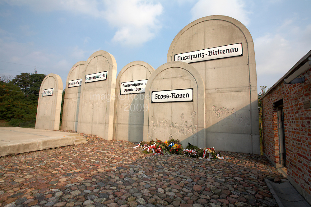 East Europe Poland West Mazovia Lodz Radegast Station Holocaust Memorial Tombstones bearing the names of the destination death camps where 200000 human beings were sent
