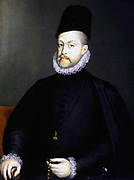 Philip II (May 21, 1527 – September 13, 1598)  King of Spain from 1556 until 1598, King of Naples from 1554 until 1598, king consort of England (as husband of Mary I) from 1554 to 1558, King of Portugal and the Algarves (as Philip I) from 1580 until 1598 and King of Chile from 1554 until 1556. Painted by Alonso Sánchez Coello (1527-1625) and is located in Prado, Madrid.