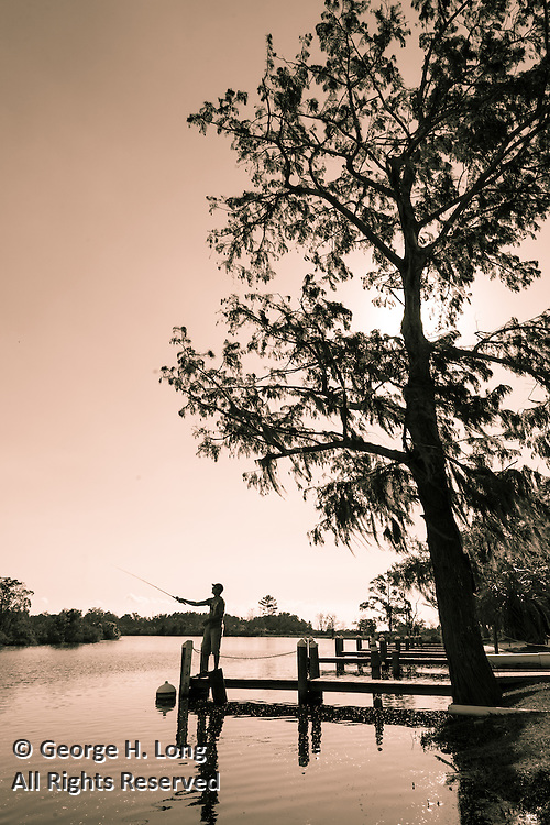 Fishing on the bayou in Mandeville, Louisiana